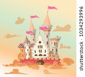 fairytale cartoon castle. cute... | Shutterstock .eps vector #1034293996