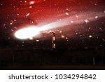 amazing and terrible comet ... | Shutterstock . vector #1034294842