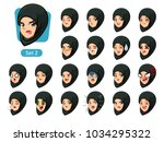 the second set of muslim woman... | Shutterstock .eps vector #1034295322