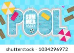 summer pool. flat design style. | Shutterstock .eps vector #1034296972