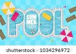 summer pool. flat design style. | Shutterstock .eps vector #1034296972