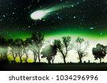 amazing and terrible comet ... | Shutterstock . vector #1034296996
