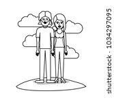 couple monochrome scene outdoor ... | Shutterstock .eps vector #1034297095