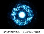 blue burning flame effects ... | Shutterstock . vector #1034307085