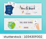 travel around the world. online ... | Shutterstock .eps vector #1034309302