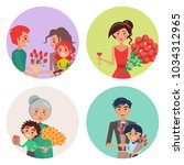 four happy icons with flower...   Shutterstock .eps vector #1034312965