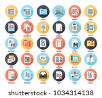 abstract vector set of colorful ... | Shutterstock .eps vector #1034314138