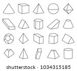 cone and pyramid shapes set ... | Shutterstock .eps vector #1034315185