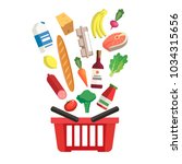 grocery basket   a shopping... | Shutterstock . vector #1034315656