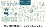 big set of hand drawn sketch... | Shutterstock .eps vector #1034317252