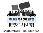 Stock vector protest people crowd march for our lives 1034334265