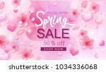 spring sale banner with cherry... | Shutterstock .eps vector #1034336068