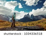 hiker on the trail in torres... | Shutterstock . vector #1034336518