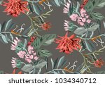 beautiful tropical pattern with ... | Shutterstock .eps vector #1034340712