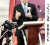 businessman's speech during... | Shutterstock . vector #1034341978