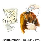 treatment of hair. watercolor... | Shutterstock . vector #1034349196