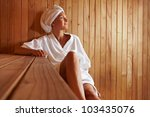 elderly woman sitting relaxed... | Shutterstock . vector #103435076