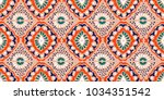 Stock vector ikat geometric folklore ornament tribal ethnic vector texture seamless striped pattern in aztec 1034351542