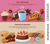 set of flat banners with hot... | Shutterstock .eps vector #1034353135