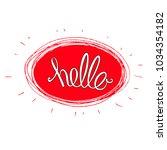 "hand written word ""hello"" ... | Shutterstock .eps vector #1034354182"