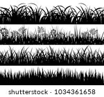 set of solid black grass... | Shutterstock .eps vector #1034361658