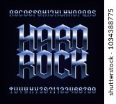 hard rock alphabet font. metal... | Shutterstock .eps vector #1034388775