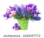 pink tulips  irises and blue... | Shutterstock . vector #1034397772