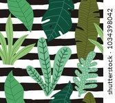 tropical leaves summer print... | Shutterstock .eps vector #1034398042