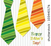 Bright 'Happy Father's Day' neck tie card in vector format. - stock vector