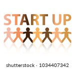start up cut out paper people... | Shutterstock .eps vector #1034407342