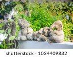 Elephant Stone Statue Sit On...