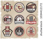 vintage colored filling station ... | Shutterstock .eps vector #1034412172
