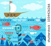 underwater design with fishes... | Shutterstock .eps vector #1034426266