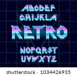 alphabet 80's retro font.vector ... | Shutterstock .eps vector #1034426935