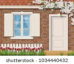 the facade of a country house... | Shutterstock .eps vector #1034440432