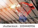 basketball hoop in gym under... | Shutterstock . vector #1034440936