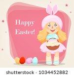 happy easter. cute girl in a... | Shutterstock .eps vector #1034452882