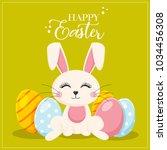 happy easter  funny bunny  | Shutterstock .eps vector #1034456308