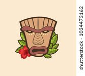 funny cartoon tiki mask with... | Shutterstock .eps vector #1034473162