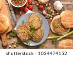 vegetarian steak with lentils... | Shutterstock . vector #1034474152