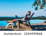 young businessman resting on... | Shutterstock . vector #1034490868