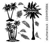 black vector single palm tree... | Shutterstock .eps vector #1034490886