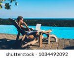 pensive caucasian young woman... | Shutterstock . vector #1034492092