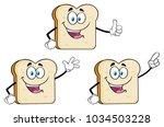 white sliced bread cartoon... | Shutterstock .eps vector #1034503228
