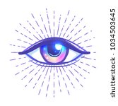 blackwork tattoo flash. eye of... | Shutterstock .eps vector #1034503645