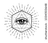 blackwork tattoo flash. eye of... | Shutterstock .eps vector #1034503648