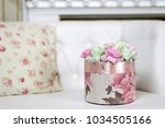 the pink box of flowers. happy... | Shutterstock . vector #1034505166