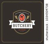 butcher shop logo vector...   Shutterstock .eps vector #1034509738