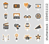 cinema and movie two color... | Shutterstock .eps vector #1034511112