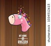 vector funny cartoon cute pink...   Shutterstock .eps vector #1034512615